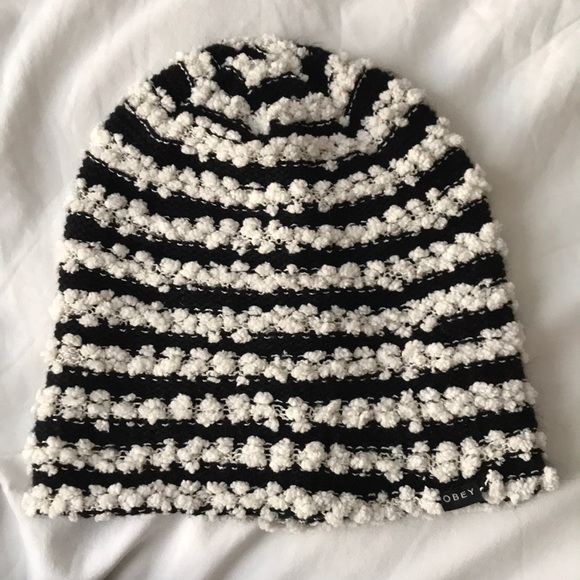 3dad706e682 Obey Women s Black   White Striped Beanie. M 5bbd3fc1194dad19676013f1
